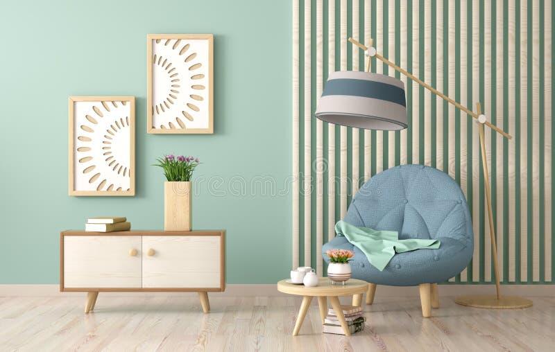 Design de interiores da sala de visitas moderna com poltrona, mesa de centro com rendição dos livros 3d ilustração royalty free
