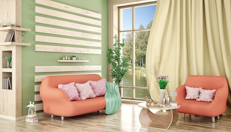 Design de interiores da sala de visitas moderna com sofá e poltrona, plantas, rendição 3d ilustração royalty free