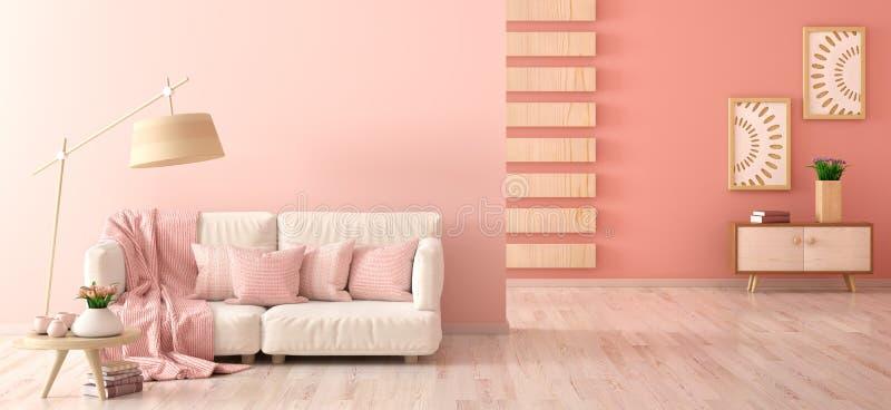 Design de interiores da sala de visitas moderna com sofá, lâmpada de assoalho e mesa de centro com tulipas, rendição 3d ilustração do vetor