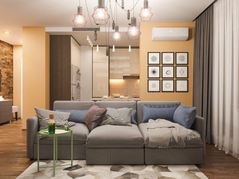 design de interiores da sala de visitas da rendição 3d Apartamento de estúdio moderno no estilo minimalista escandinavo ilustração do vetor