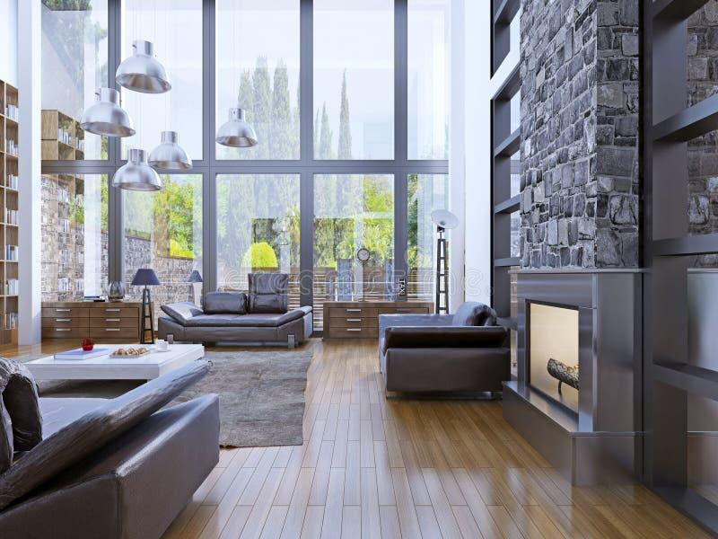 Design de interiores do apartamento do sótão com interior panorâmico da janela fotografia de stock royalty free
