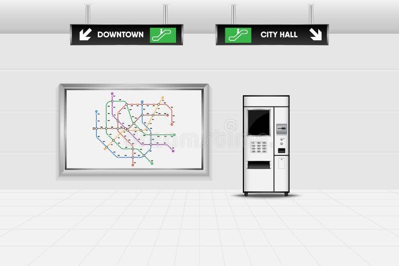 Design de interiores do metro e máquina de venda automática do bilhete , Tubo, Undergr ilustração do vetor