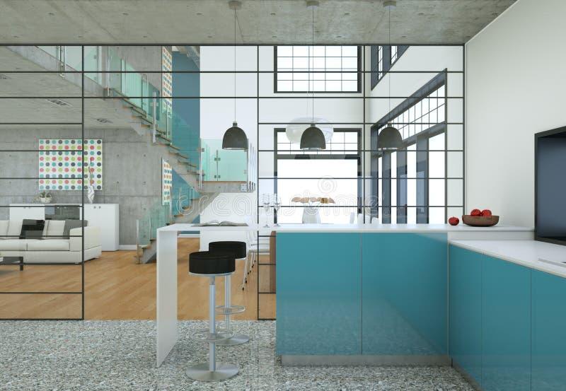 Design de interiores do sótão de Minimalistic com sofás e muros de cimento ilustração royalty free