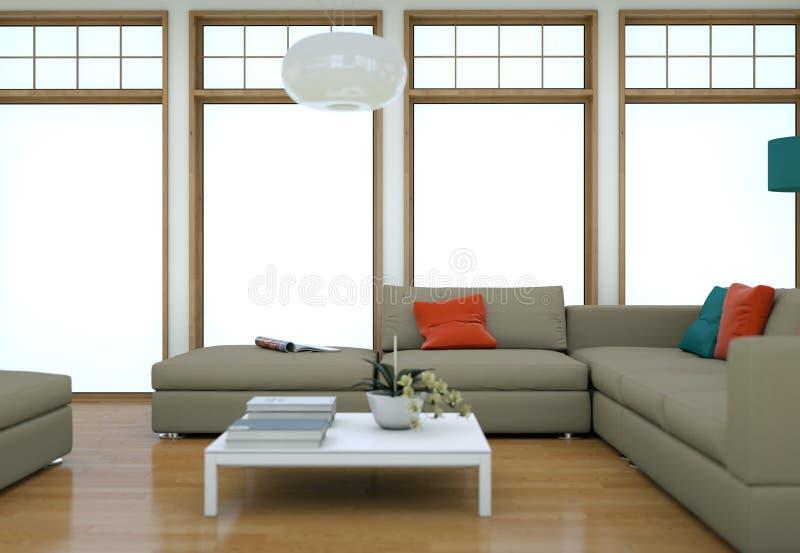 Design de interiores do sótão de Minimalistic com sofás e muros de cimento ilustração do vetor