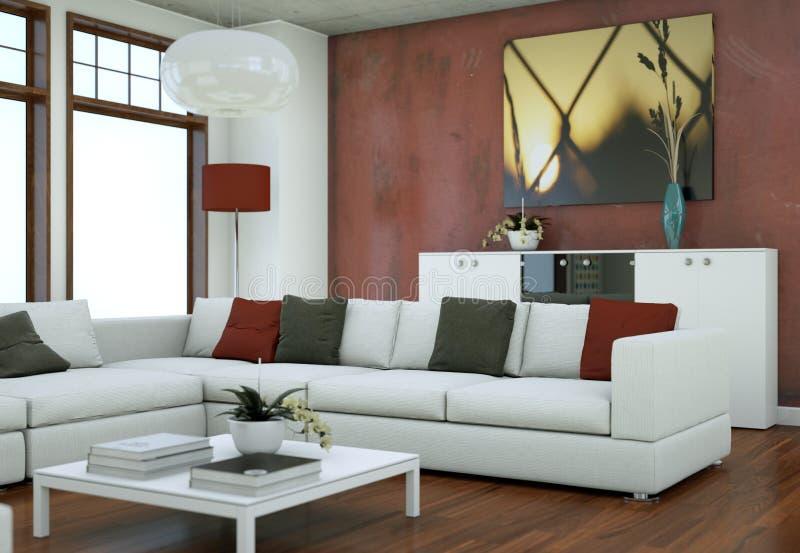 Design de interiores do sótão de Minimalistic com sofás e muros de cimento ilustração stock