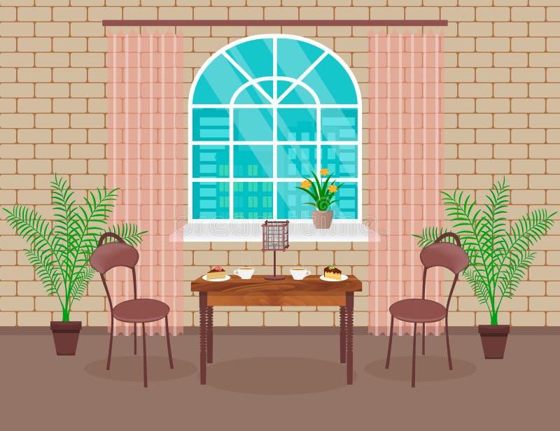 Design de interiores do sótão Sala de visitas com parede de tijolo, tabela, cadeiras, café quente e sobremesa, lâmpada, janela co ilustração stock