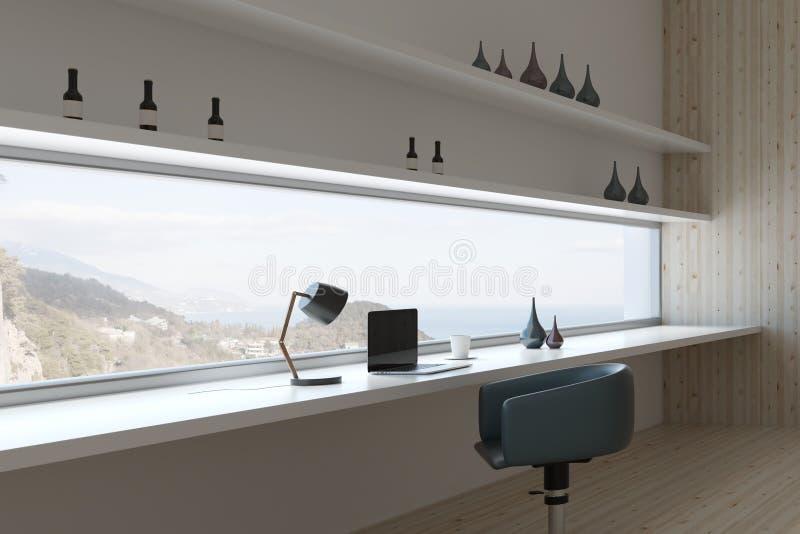 Design de interiores futurista da sala ilustração royalty free