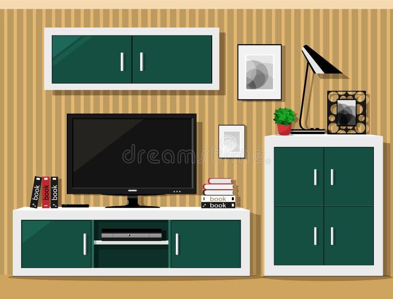 Design de interiores gráfico à moda da sala de visitas Sala fresca ajustada com mobília moderna Ilustração do vetor ilustração do vetor