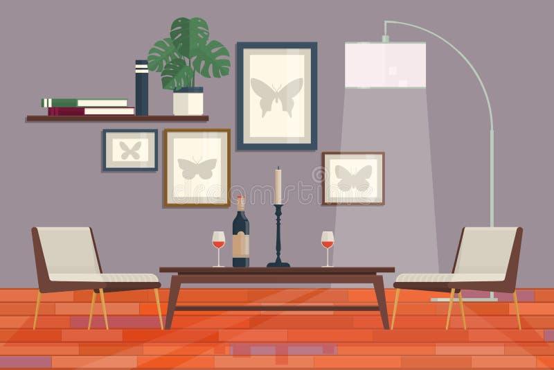 Design de interiores gráfico fresco da sala de visitas com biblioteca da mobília, tabela, lâmpadas Ilustração moderna home do vet ilustração do vetor
