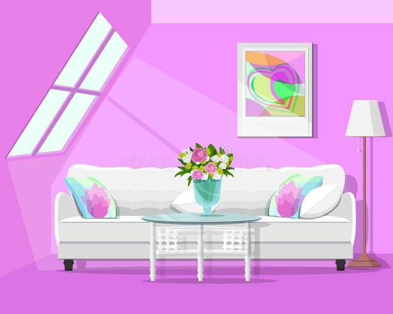 Design de interiores gráfico moderno do sótão Grupo colorido da sala Estilo liso ilustração royalty free