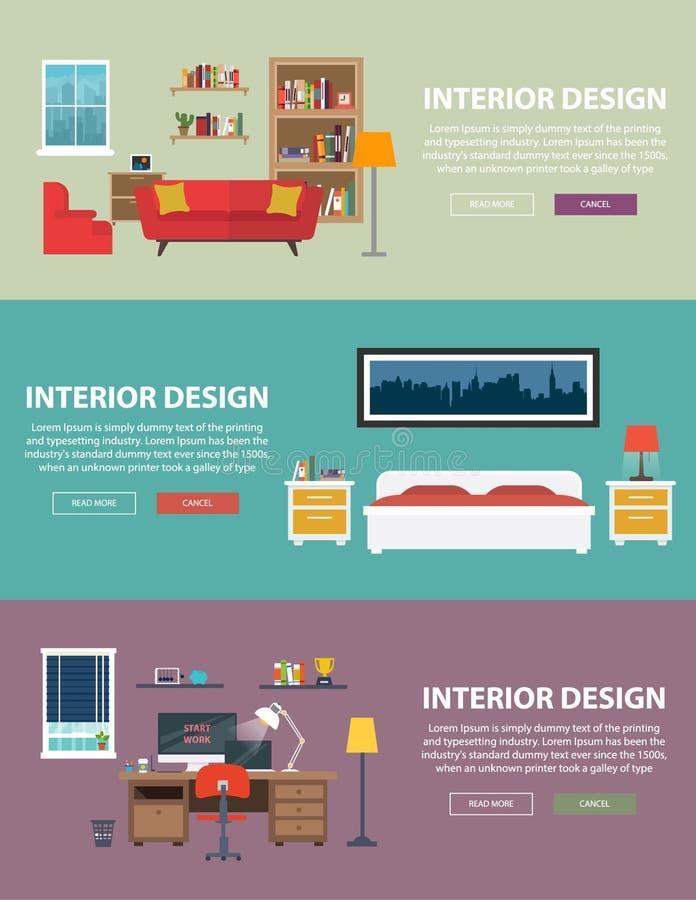 Design de interiores home para a cama e as salas de estar ilustração do vetor