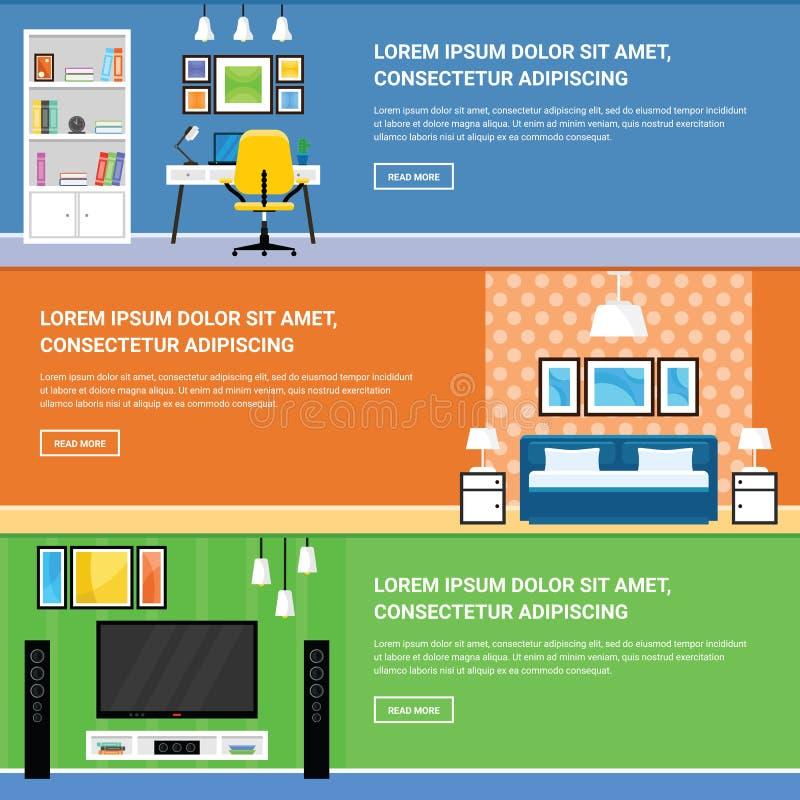 Design de interiores home para a sala de visitas, o quarto e o escritório domiciliário Fu foto de stock royalty free