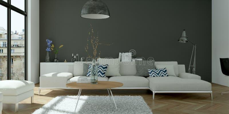 Design de interiores liso skandinavian brilhante moderno fotos de stock royalty free
