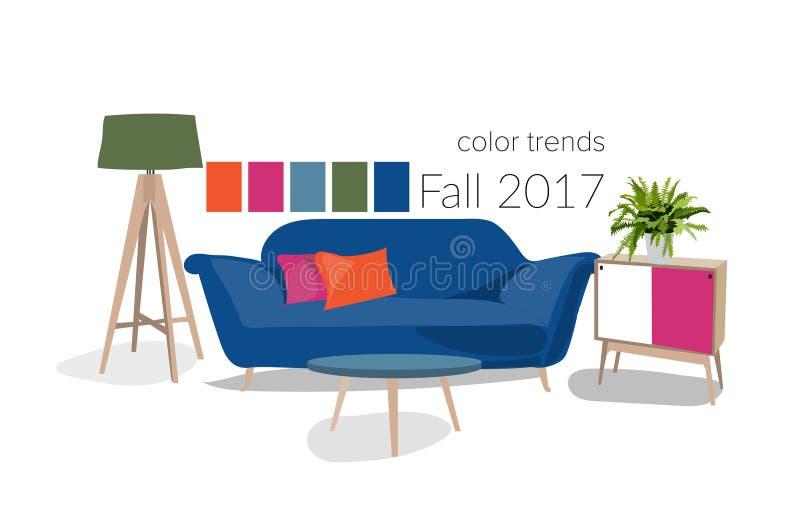 Design de interiores moderno 2017 ilustração royalty free