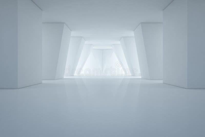 Design de interiores moderno da sala de exposições com assoalho vazio e fundo branco da parede foto de stock royalty free