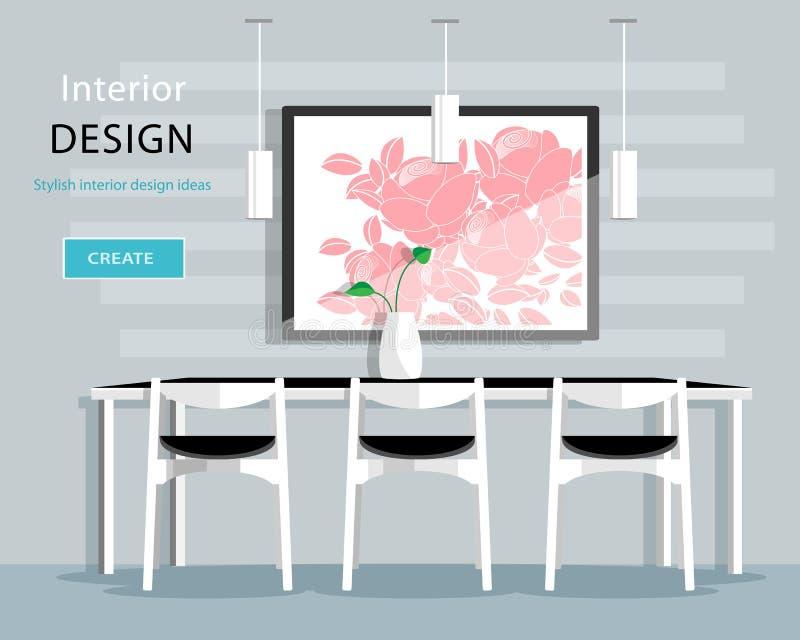 Design de interiores moderno da sala de jantar com tabela, cadeiras, vaso, imagem, lâmpadas Ilustração lisa do vetor do estilo ilustração stock
