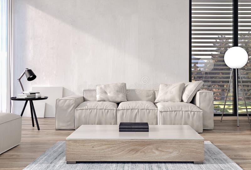 Design de interiores moderno da sala de visitas com mobília italiana do estilo e portas deslizantes e janelas grandes, jardim e á ilustração royalty free