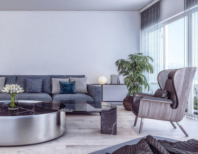 Design de interiores moderno da sala de visitas italiana do estilo ilustração royalty free