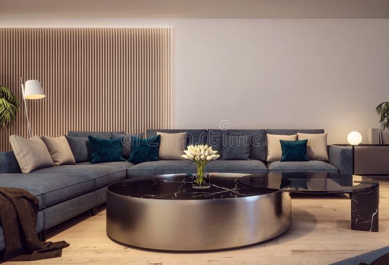 Design de interiores moderno da sala de visitas italiana do estilo, cena da noite foto de stock