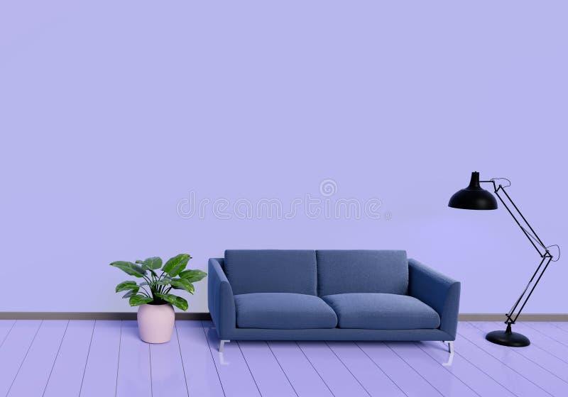 Design de interiores moderno da sala de visitas roxa com sof? um potenci?metro da planta no assoalho de madeira lustroso branco E ilustração do vetor