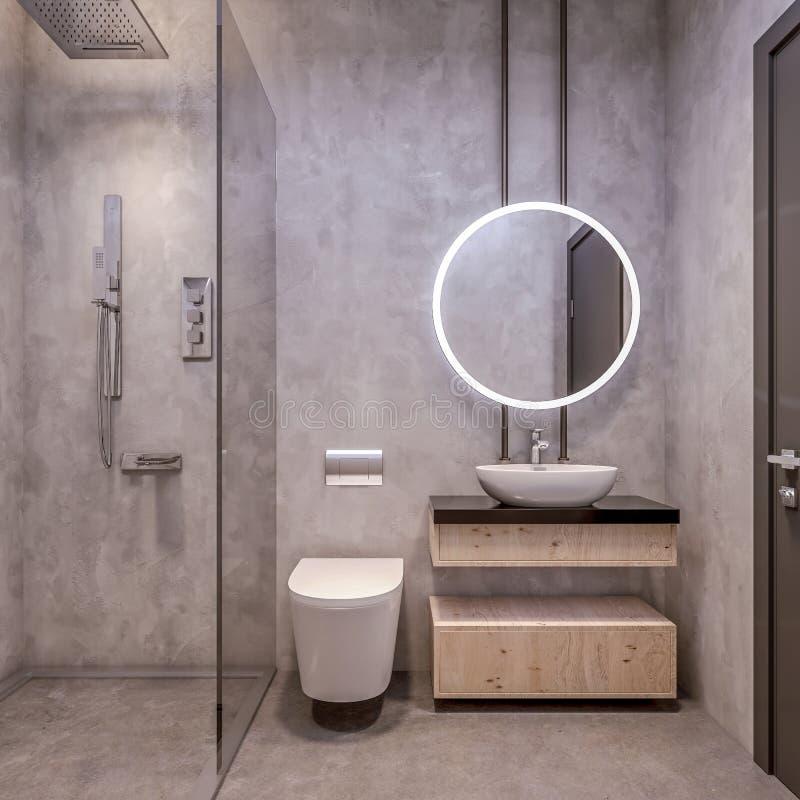 Design de interiores moderno da vaidade do banheiro, todas as paredes feitas das lajes de pedra com espelhos do círculo, minimali ilustração royalty free