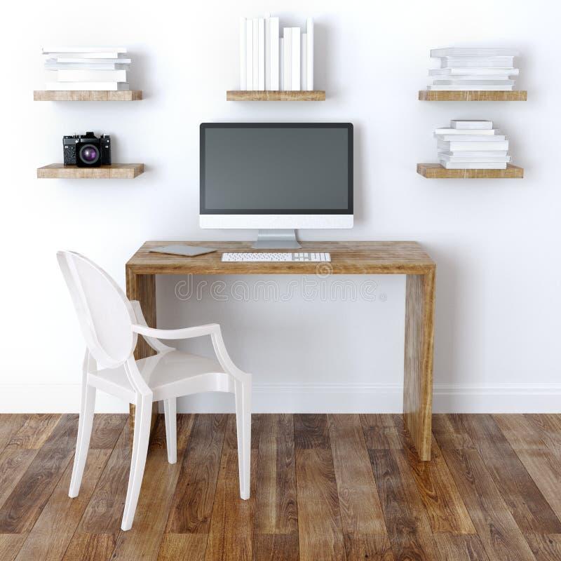 Design de interiores moderno do escritório domiciliário com Bookshelve ilustração royalty free