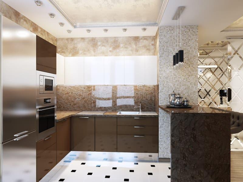 Design de interiores moderno elegante e luxuoso da cozinha fotografia de stock royalty free
