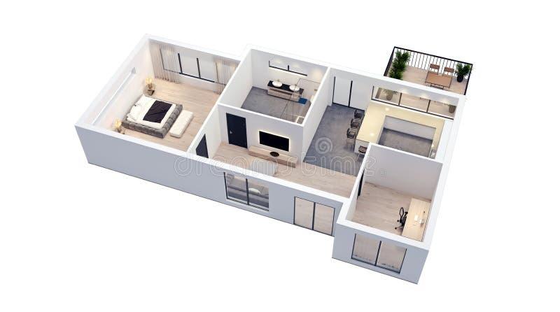 Design de interiores moderno, isolado na planta baixa branca com paredes brancas, modelo do apartamento, casa, mobília, isométric