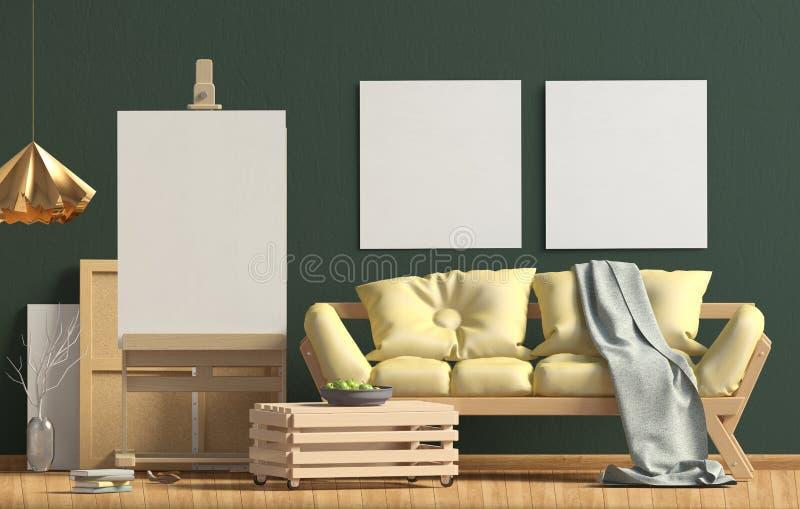 Design de interiores moderno no estilo escandinavo com sofá e armação ilustração stock