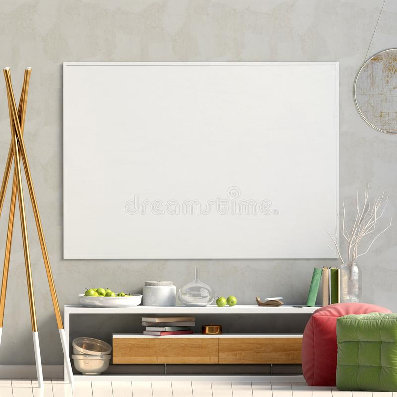 Design de interiores moderno no estilo escandinavo Zombaria acima do cartaz 3d ilustração royalty free