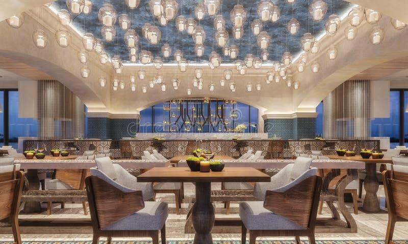 Design de interiores moderno de um restaurante, estilo árabe com feixes arqueados e luz de teto da vela, cena da noite, flores am imagens de stock