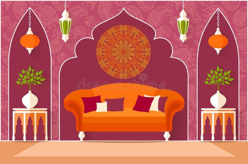 Design de interiores no estilo árabe Ilustração do vetor ilustração stock
