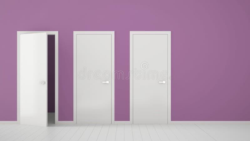 Design de interiores roxo vazio da sala com fechado e estares abertos com quadro, puxadores da porta, assoalho branco de madeira  ilustração do vetor