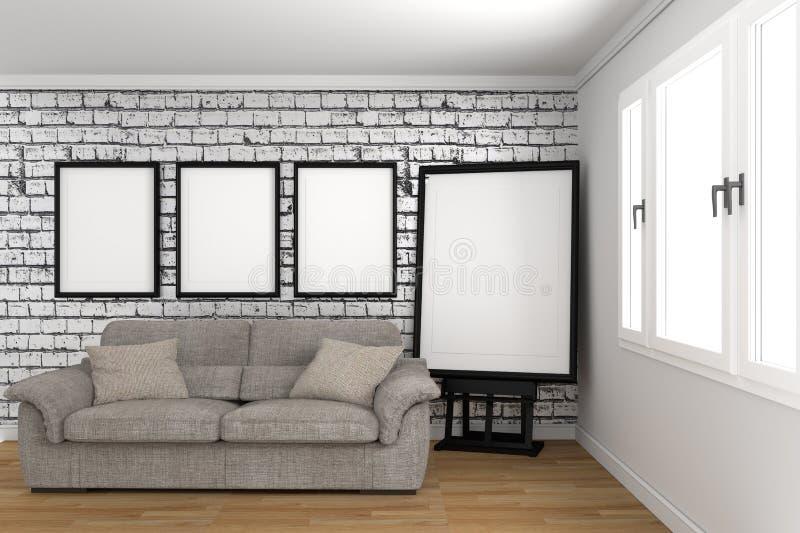 Design de interiores vazio branco da sala, estilo escandinavo rendi??o 3d ilustração do vetor