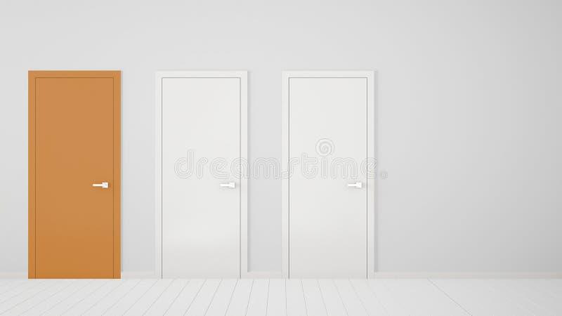 Design de interiores vazio da sala branca com as portas fechados com quadro, uma porta alaranjada, assoalho branco de madeira Esc ilustração do vetor