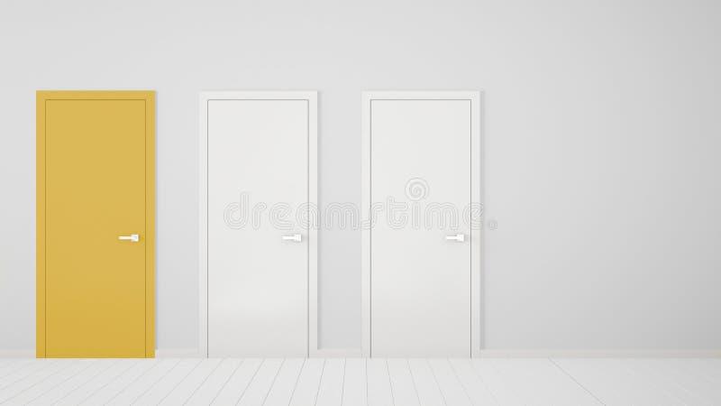 Design de interiores vazio da sala branca com as portas fechados com quadro, uma porta amarela, assoalho branco de madeira Escolh ilustração royalty free