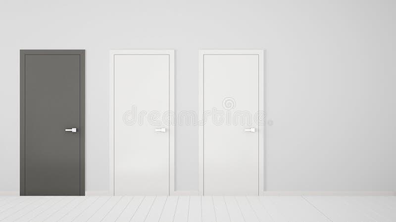 Design de interiores vazio da sala branca com as portas fechados com quadro, uma porta cinzenta, assoalho branco de madeira Escol ilustração stock
