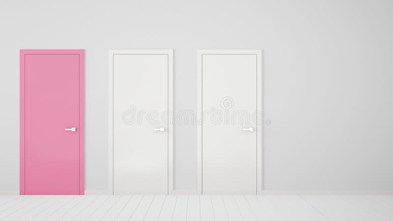 Design de interiores vazio da sala branca com as portas fechados com quadro, uma porta cor-de-rosa, assoalho branco de madeira Es ilustração do vetor