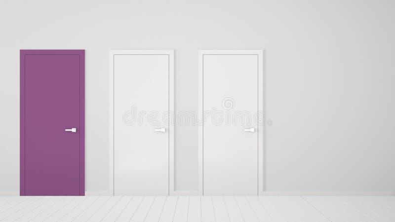 Design de interiores vazio da sala branca com as portas fechados com quadro, uma porta roxa, assoalho branco de madeira Escolha,  ilustração stock