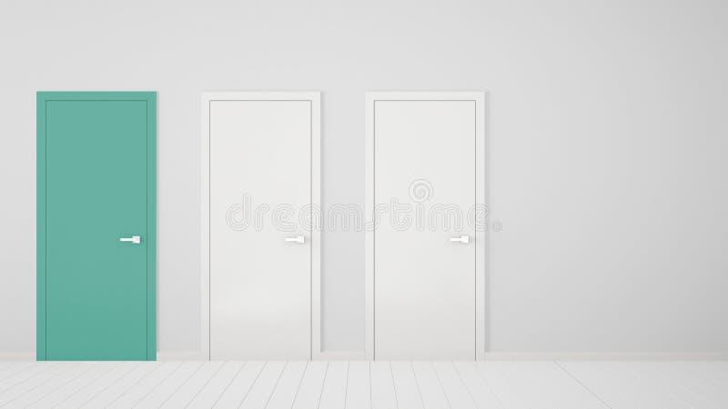 Design de interiores vazio da sala branca com as portas fechados com quadro, uma porta de turquesa, assoalho branco de madeira Es ilustração stock