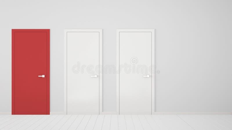 Design de interiores vazio da sala branca com as portas fechados com quadro, uma porta vermelha, assoalho branco de madeira Escol ilustração stock