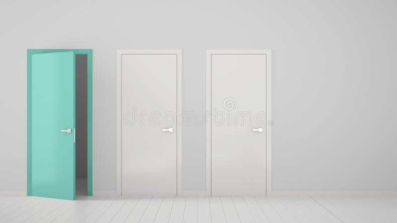 Design de interiores vazio da sala com as duas portas fechados brancas e a uma porta aberta de turquesa com quadro, assoalho bran ilustração royalty free