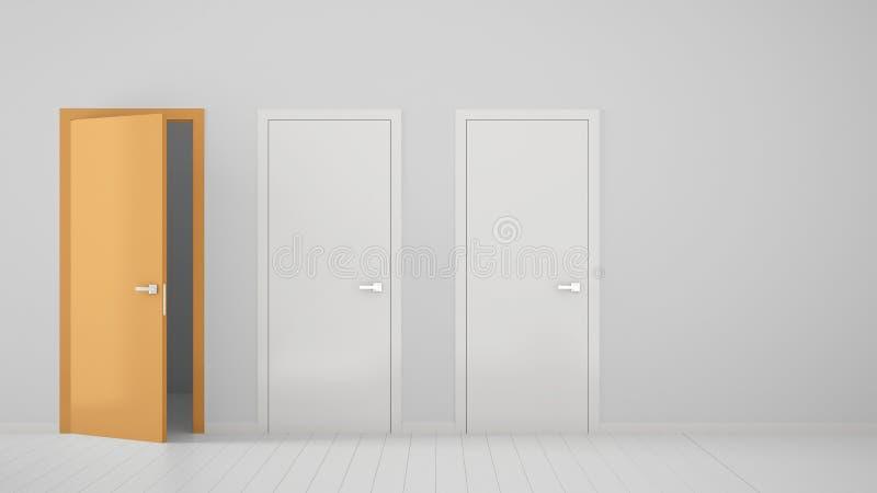 Design de interiores vazio da sala com as duas portas fechados brancas e a uma porta alaranjada aberta com quadro, assoalho branc ilustração do vetor
