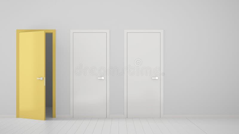 Design de interiores vazio da sala com as duas portas fechados brancas e a uma porta amarela aberta com quadro, assoalho branco d ilustração do vetor