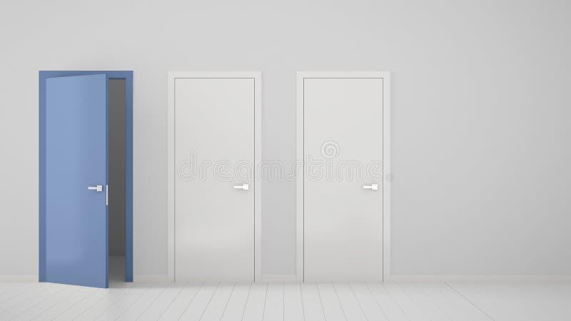 Design de interiores vazio da sala com as duas portas fechados brancas e a uma porta azul aberta com quadro, assoalho branco de m ilustração royalty free