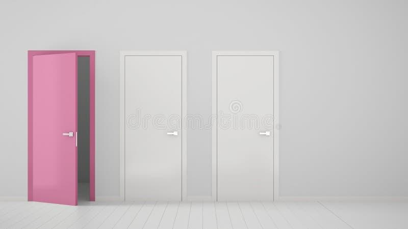 Design de interiores vazio da sala com as duas portas fechados brancas e a uma porta cor-de-rosa aberta com quadro, assoalho bran fotografia de stock royalty free