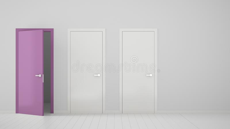 Design de interiores vazio da sala com as duas portas fechados brancas e a uma porta roxa aberta com quadro, assoalho branco de m ilustração royalty free