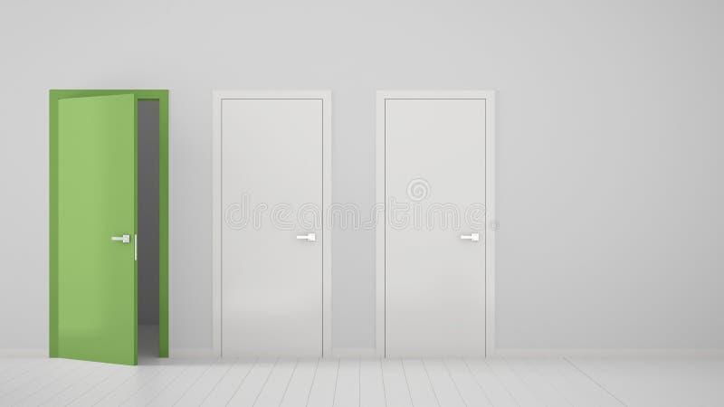 Design de interiores vazio da sala com as duas portas fechados brancas e a uma porta verde aberta com quadro, assoalho branco de  ilustração royalty free