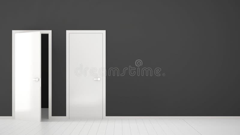 Design de interiores vazio da sala com as portas abertas e fechados com quadro, puxadores da porta, assoalho branco de madeira Es ilustração royalty free