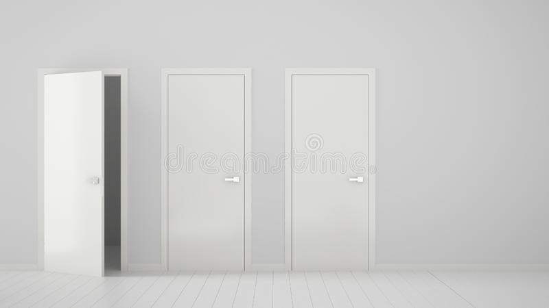 Design de interiores vazio da sala com fechado e estares abertos com quadro, puxadores da porta, assoalho branco de madeira Escol ilustração royalty free
